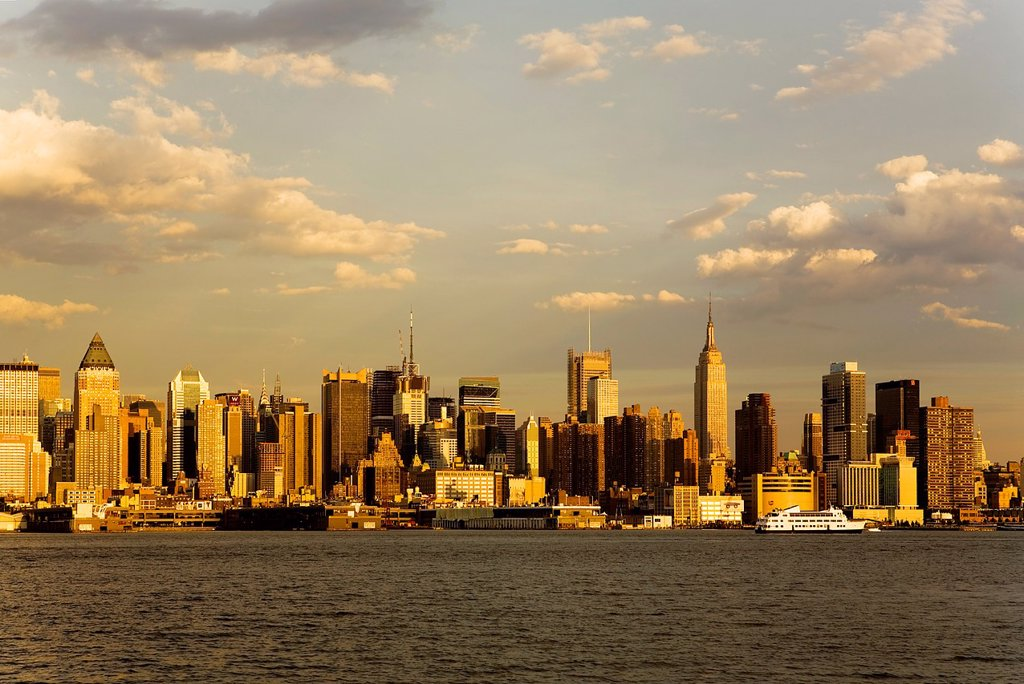 Stock Photo: 1566-881374 Midtown, skyline of Manhattan across Hudson River from New Jersey, New York City, USA