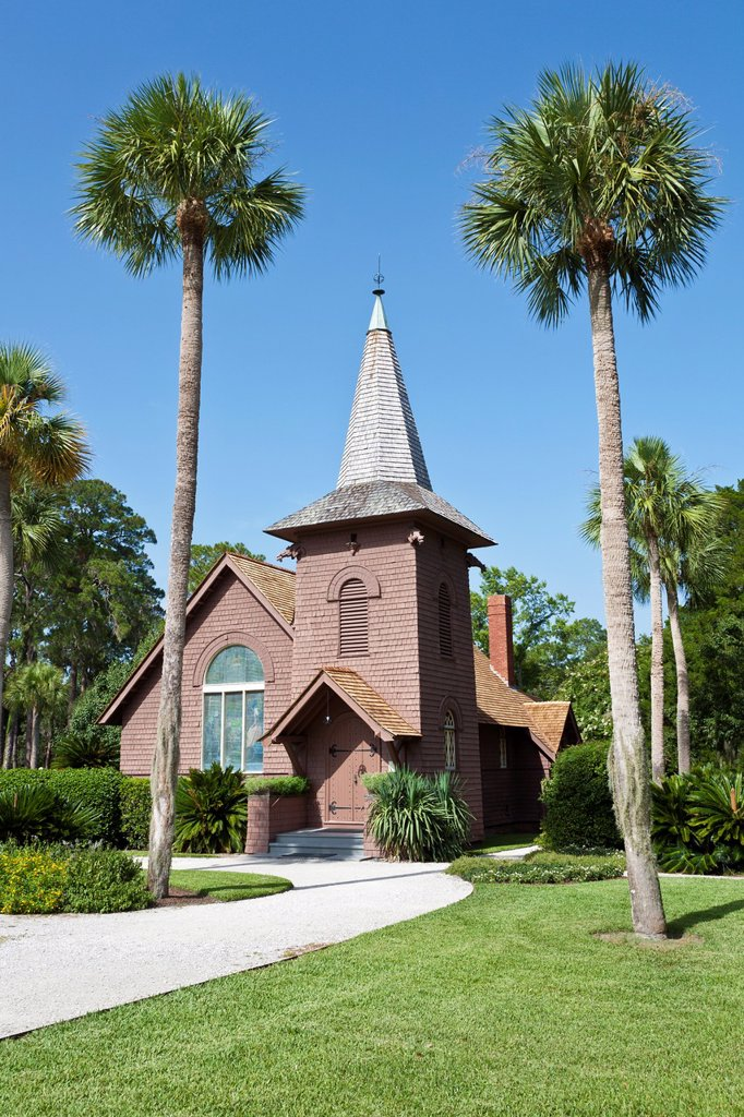 Faith Chapel non-denominational chapel at Jekyll Island, Georgia : Stock Photo