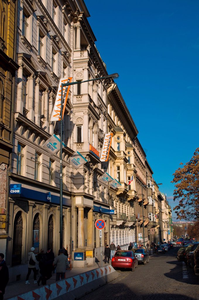 Washingtonova street Nove Mesto new town Prague Czech Republic Europe : Stock Photo