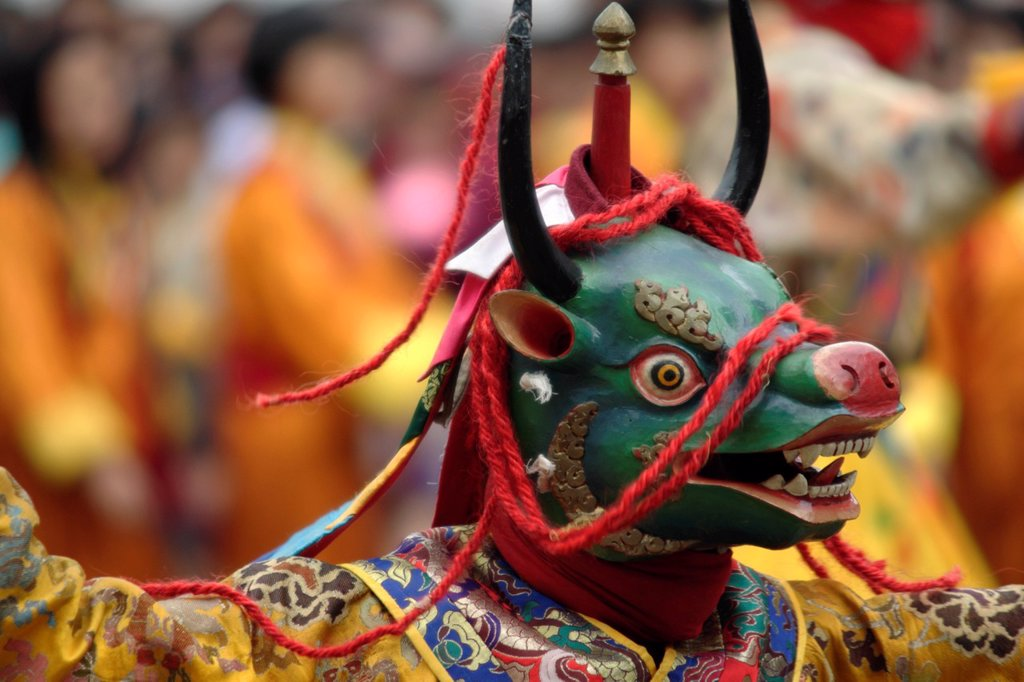 Stock Photo: 1566-882398 Dancer at the Tsechu festival, Thimphu, Bhutan