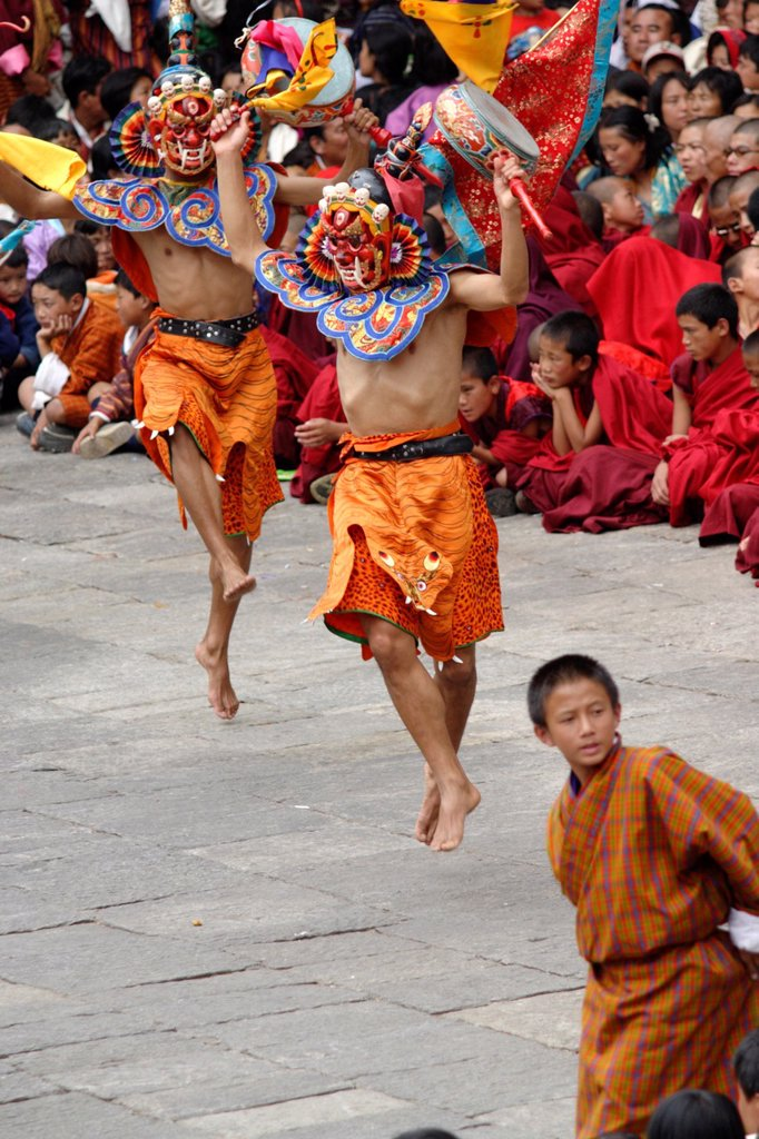 Stock Photo: 1566-882933 Dancer at the Tsechu festival, Thimphu, Bhutan