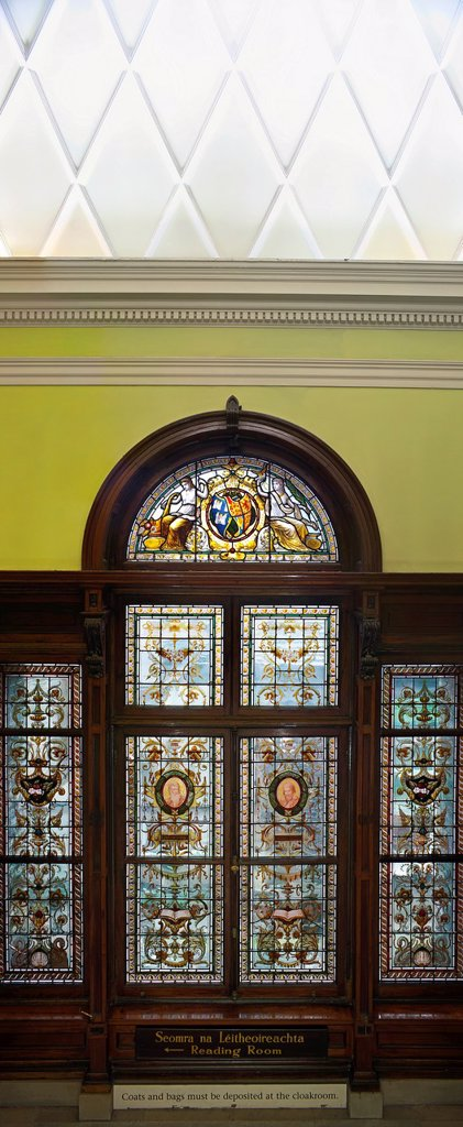 Ireland, Dublin, Kildare Street, detail of the stained glass window in the the grand staircase of The National Library of Ireland : Stock Photo