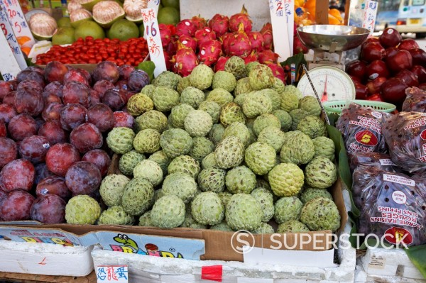 Stock Photo: 1566-883324 fresh asian fruit stall in aberdeen hong kong hksar china asia
