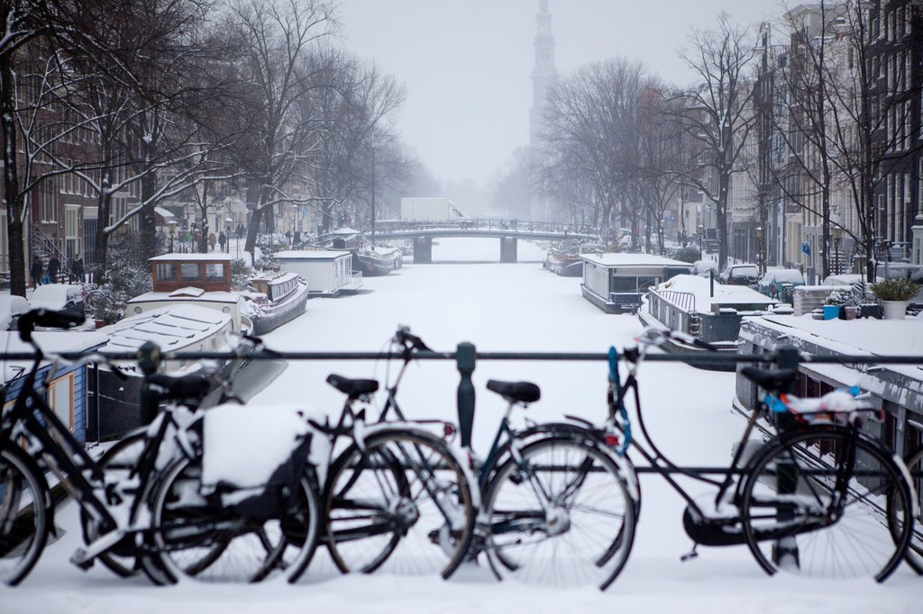 First snow in Amsterdam in the winter of 2012 : Stock Photo