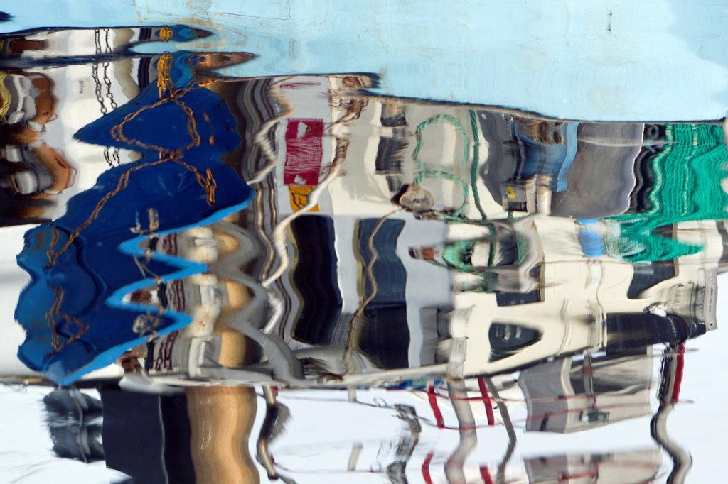 Stock Photo: 1566-883810 Fishing Boats, and their Reflections, in Harbour, Gilleleje, Sjaelland, Denmark