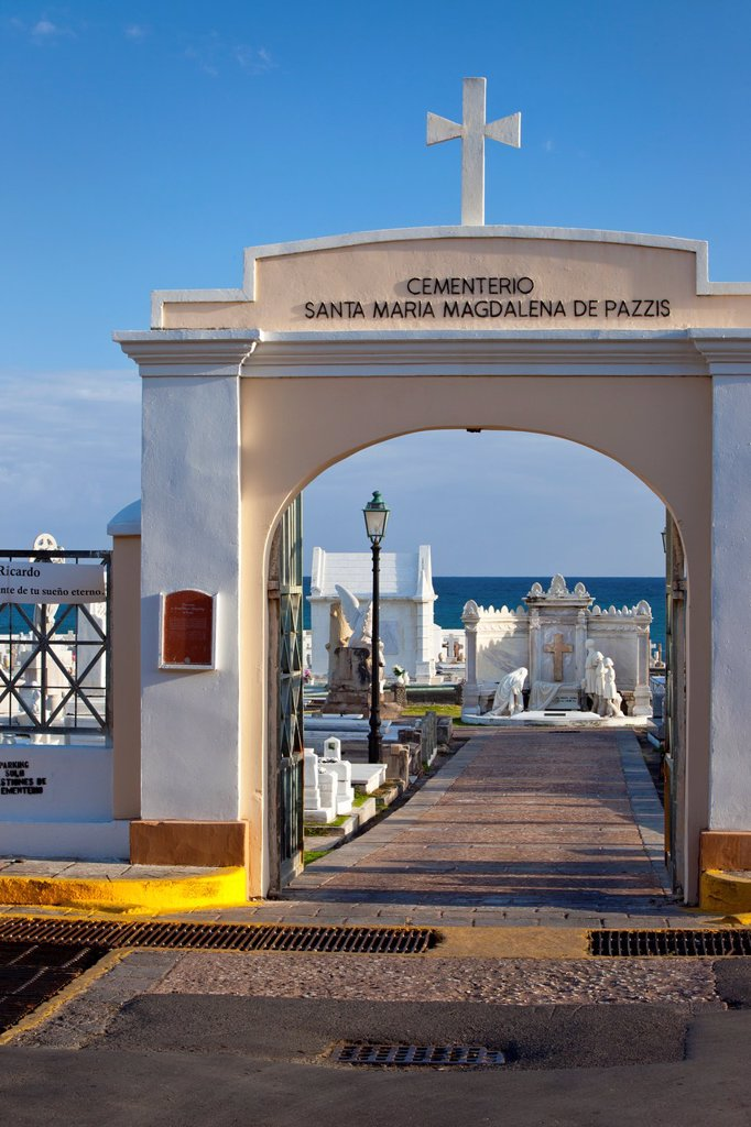 Stock Photo: 1566-884519 Entrance to historic Santa Maria Magdalena de Pazzis Cemetery in old San Juan Puerto Rico
