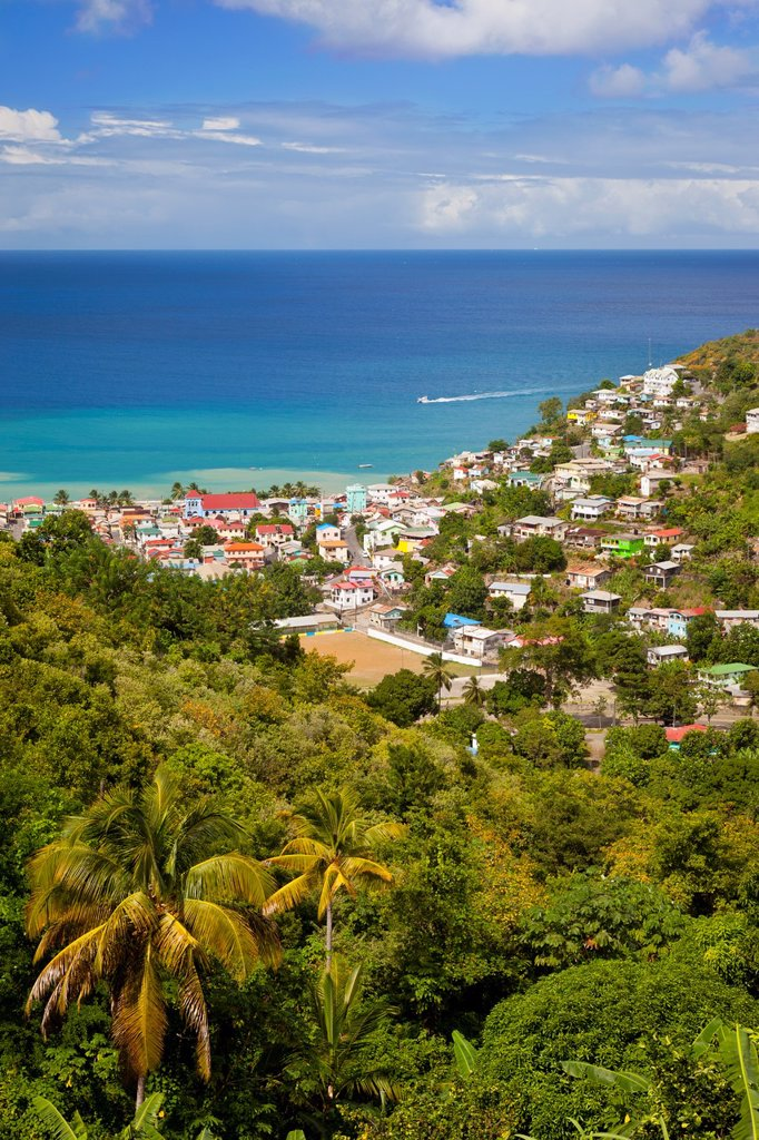 Stock Photo: 1566-884593 View over the town of Canaries on the Caribbean island of St  Lucia, West Indies
