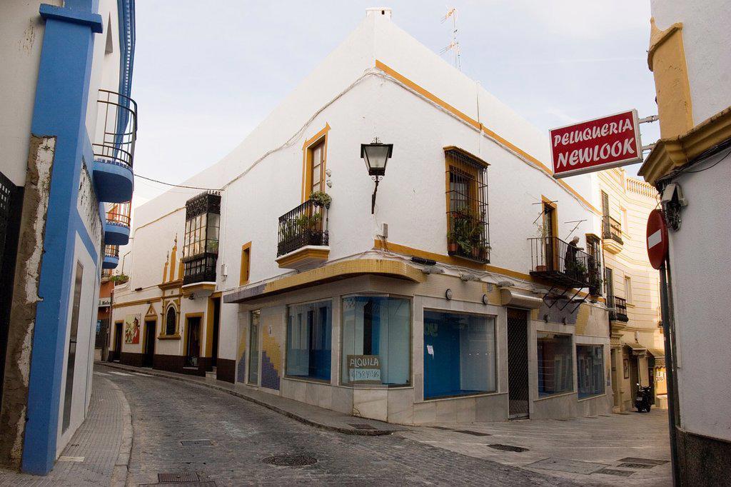 Street of Ayamonte, Huelva, Andalucia, Spain, Europe : Stock Photo