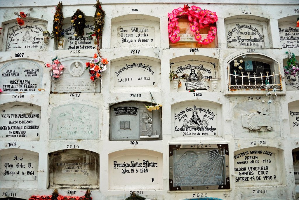 Graveyard at La Ciudad Blanca ´White City´ cemetery, Guayaquil, Ecuador : Stock Photo