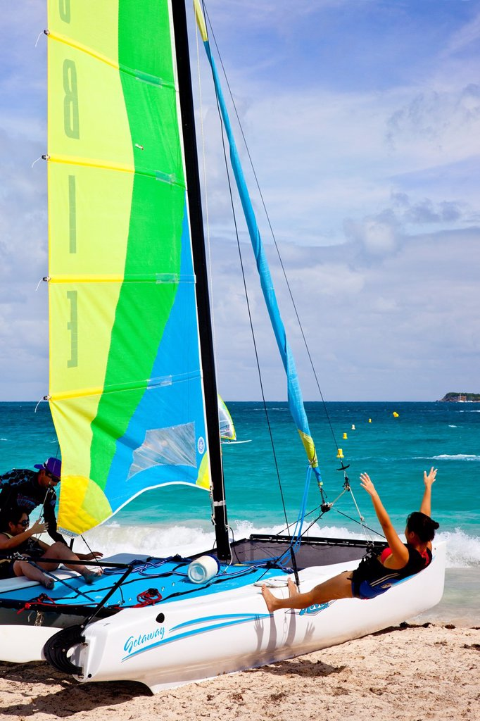 Stock Photo: 1566-885091 Hobey Cat training at Orient Beach, St  Maarten, French West Indies