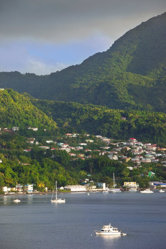 Town of Roseau on the Caribbean island of Dominica, Leeward Islands, West Indies : Stock Photo