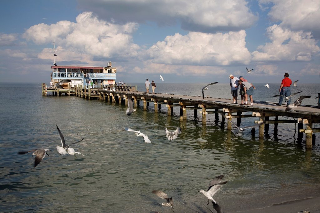 Stock Photo: 1566-885537 Rod and reel Fishing pier on the Gulf of Mexico on Anna Maria Island Florida