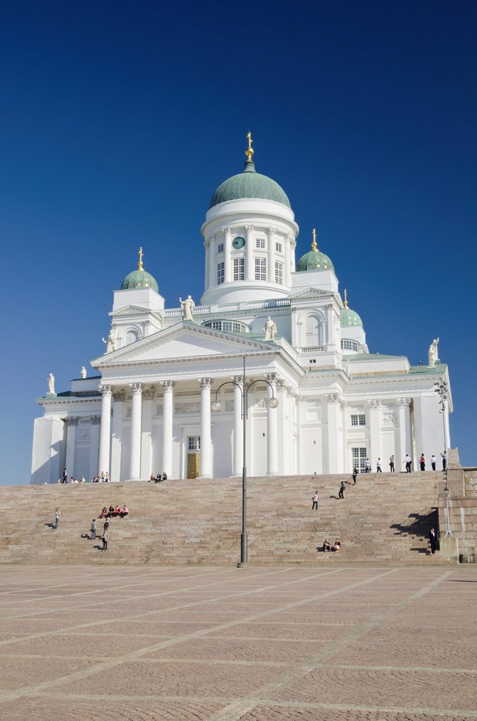 Stock Photo: 1566-885598 White neoclassical style Lutheran cathedral, the Tuomiokirkko, designed by Carl Ludvig Engel, completed in 1852, Helsinki, Finland