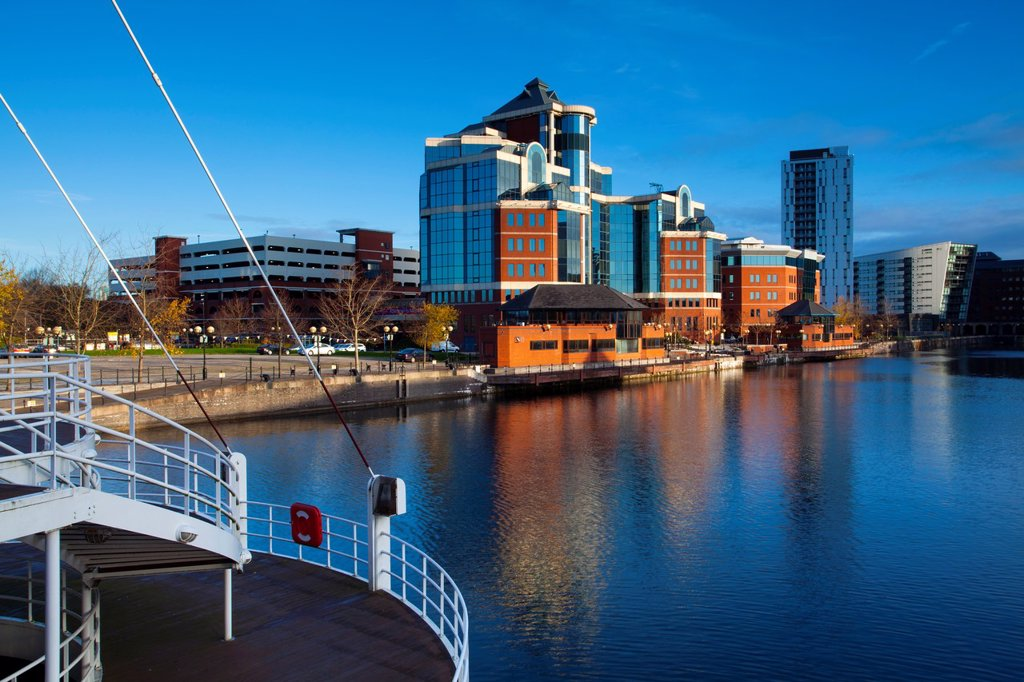 Stock Photo: 1566-885688 England, Greater Manchester, Salford Quays  Victoria Harbour building viewed from Detroit footbridge on the Manchester Ship Canal located in Salford