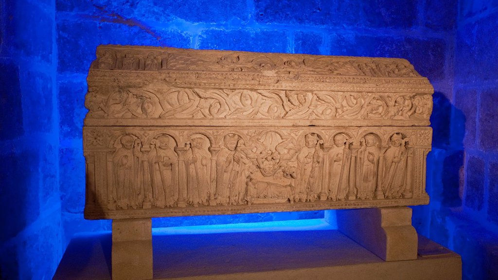 Stock Photo: 1566-885879 Romanesque sarcophagus of the Infante Sancho, son of Alfonso VIII King of Castile, in the lower cloister of the cathedral Burgos  Castila-Leon  Spain  Camino de Santiago  The way of St  James