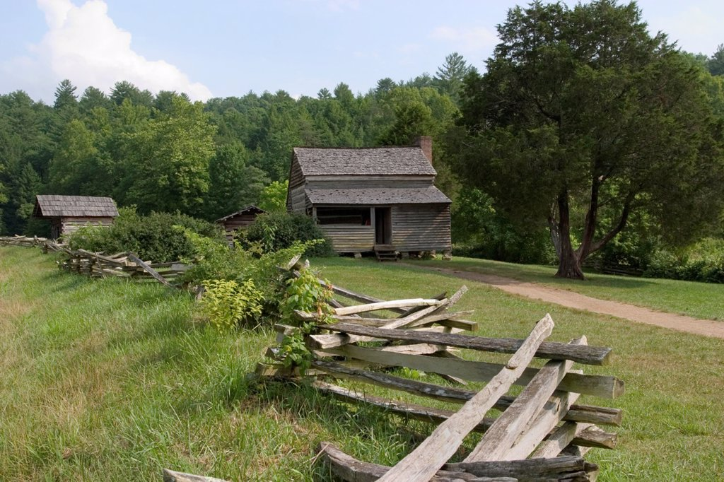 Stock Photo: 1566-886076 Dan Lawson Place built around 1856 in Cades Cove in the Great Smoky Mountains National Park, Tennessee