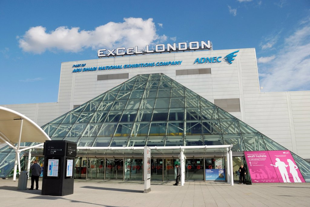 Stock Photo: 1566-886475 ExCeL London conference and exhibition centre, Royal Victoria Dock, London, England  The centre will be used as venue for the 2012 Olympic and Paralympic Games
