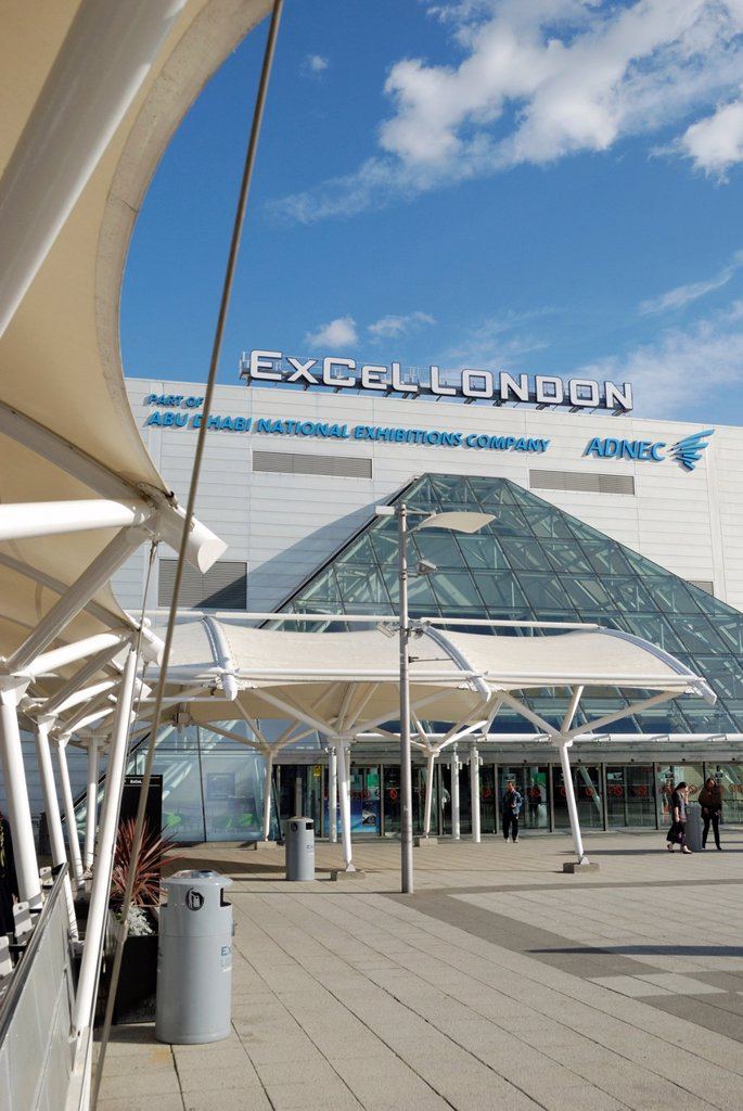 Stock Photo: 1566-886476 ExCeL London conference and exhibition centre, Royal Victoria Dock, London, England  The centre will be used as venue for the 2012 Olympic and Paralympic Games