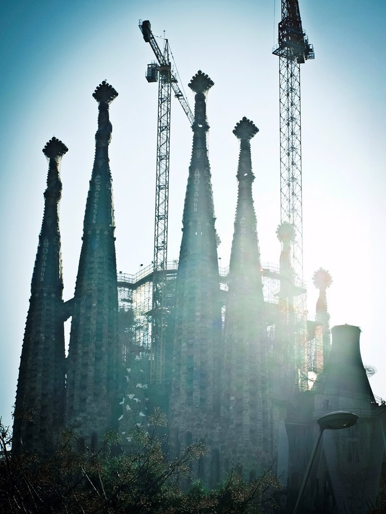 Sagrada Familia Temple, silhouette against the light. Architect: Antoni Gaudí. Barcelona. Catalonia, Spain. : Stock Photo