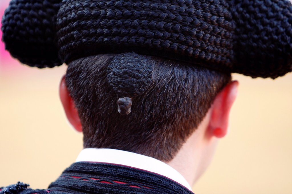 Stock Photo: 1566-887447 Plaza de Toros ´La Malagueta´ Evening taurine  Detail of the cap of a bullfighter  Malaga, Andalusia, Spain