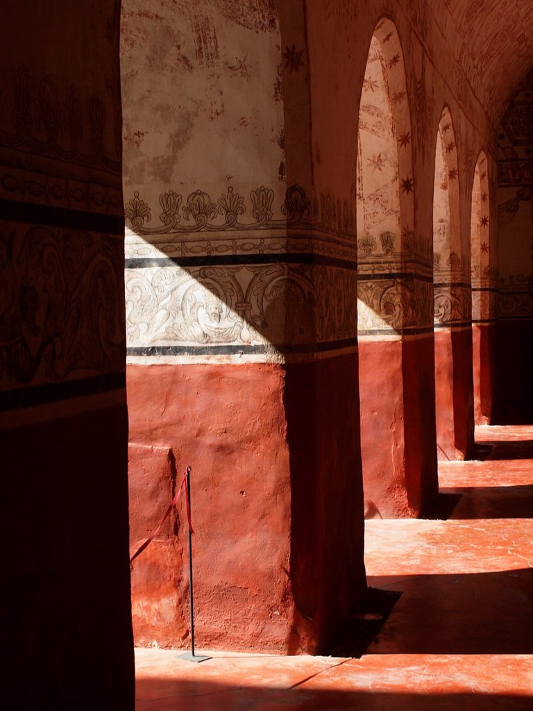 Colonnade. Natividad convent. 1570. Tepoztlan. Mexico. : Stock Photo