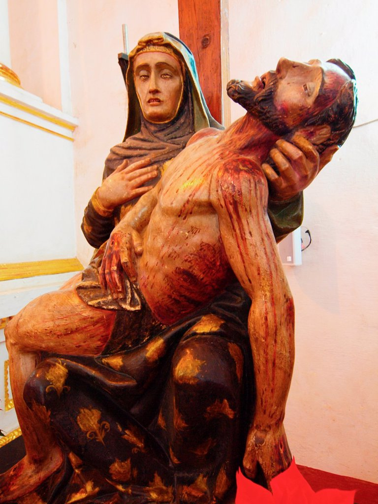 Pietà La Piedad. Natividad convent. 1570. Tepoztlan. Mexico. : Stock Photo