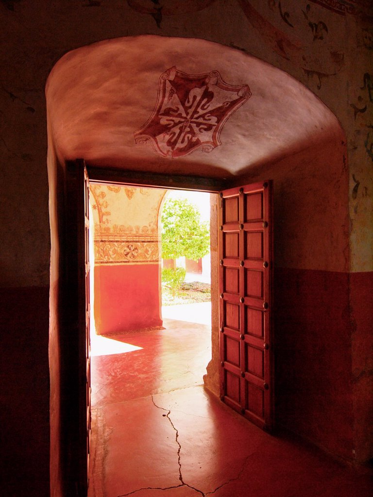 Door. Natividad convent. 1570. Tepoztlan. Mexico. : Stock Photo