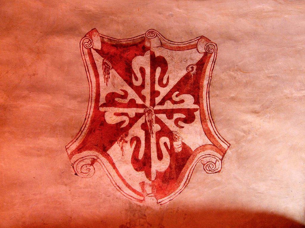 Shield. Natividad convent. 1570. Tepoztlan. Mexico. : Stock Photo