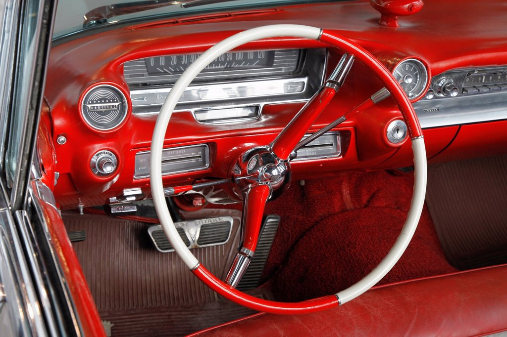 Detail of the dashboard of a Cadillac  Malaga car museum, Malaga, Costa del Sol, Andalusia, Spain : Stock Photo