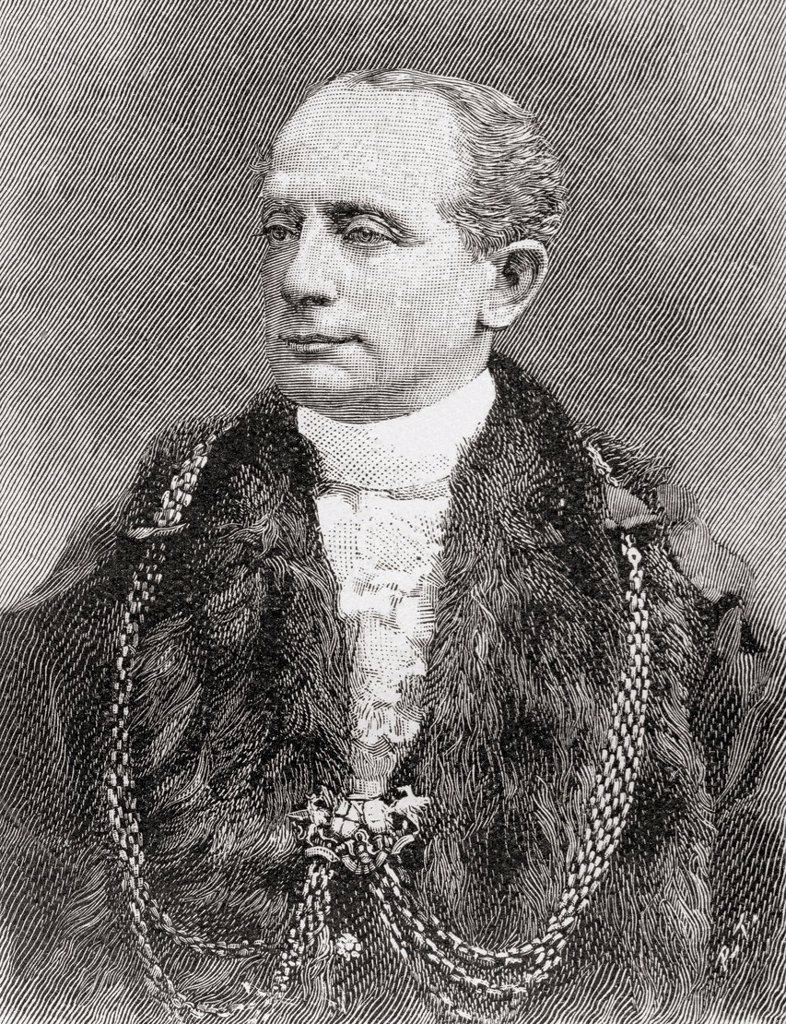Stock Photo: 1566-888533 Sir George Faudel Faudel-Phillips, 1st Baronet, 1840–1922  Lord Mayor of London, 1896 - 1897  From The Strand Magazine published 1897