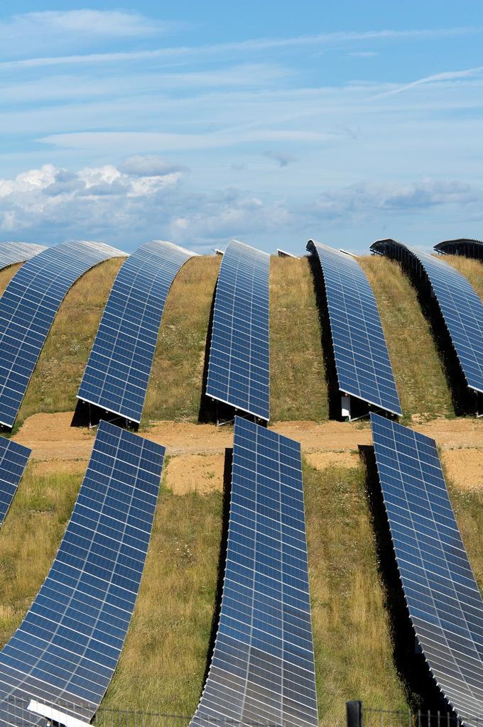 Europe, France, Alpes de Haute Provence region Puimichel, the Mees Solar Farm, solar panels : Stock Photo