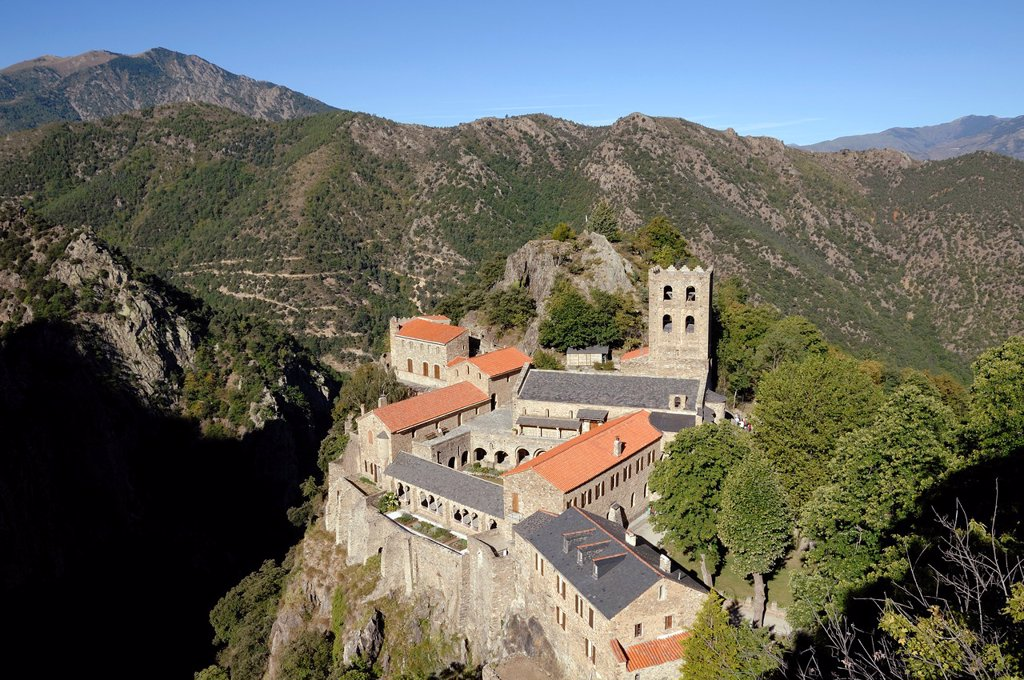 Stock Photo: 1566-889661 View of Saint-Martin-de-Canigou Abbey or Monastery Pyrénées-Orientales France