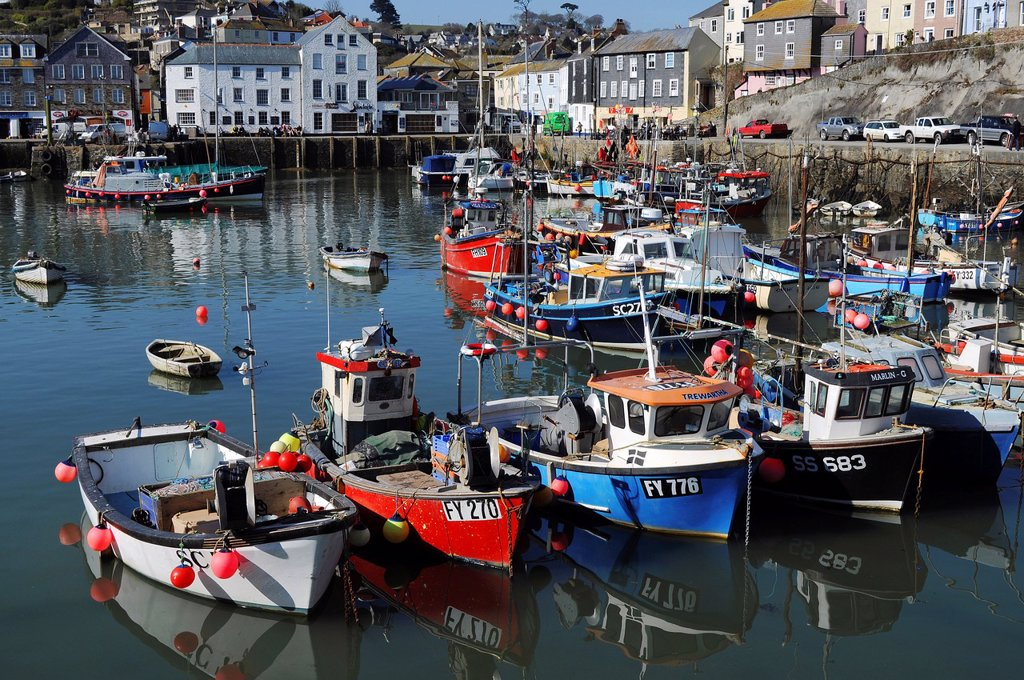 Stock Photo: 1566-889785 fishing boats in the harbour at mevagissey in cornwall, england, uk