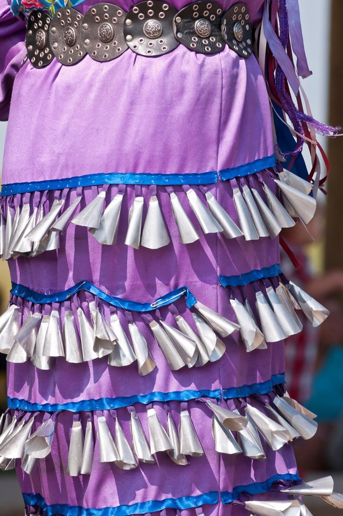Stock Photo: 1566-889832 Detail of jingle dress, Women´s jingle dance, Pow-wow, Blackfoot Crossing Historical Park, Alberta, Canada