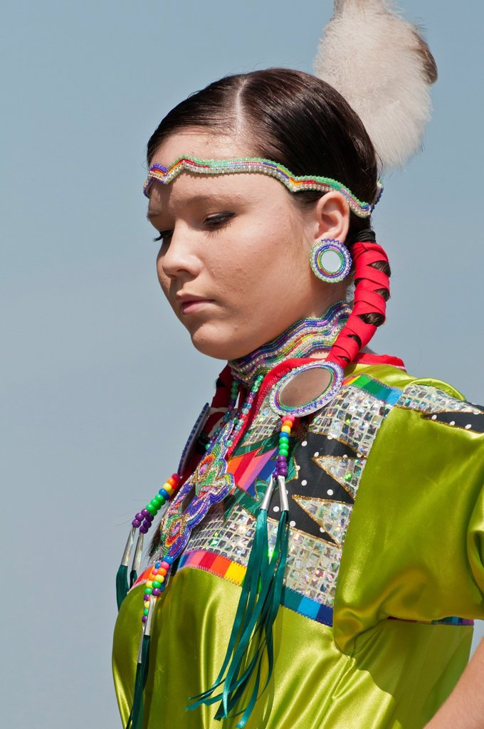 Stock Photo: 1566-889844 Female dancer in jingle dance regalia, Pow-wow, Blackfoot Crossing Historical Park, Alberta, Canada