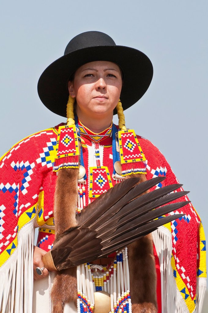 Female traditional dancer, Pow-wow, Blackfoot Crossing Historical Park, Alberta, Canada : Stock Photo