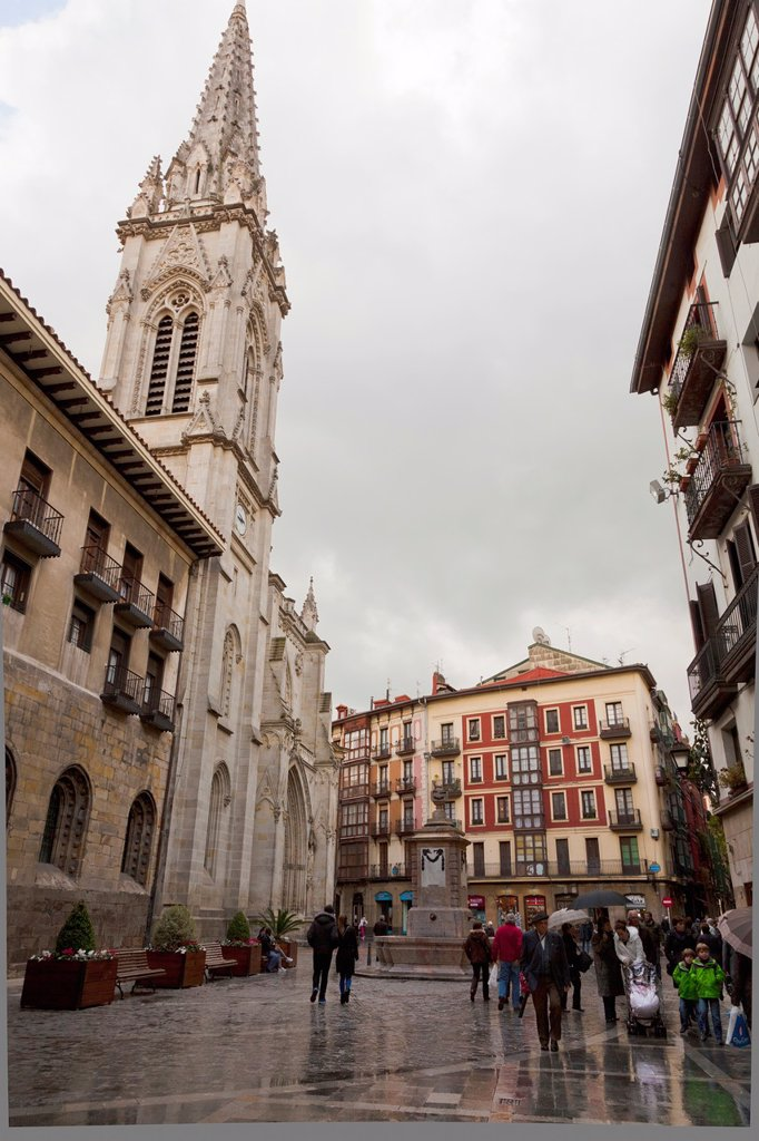 Stock Photo: 1566-889976 Cathedral of Santiago in the Old Quarter of Bilbao