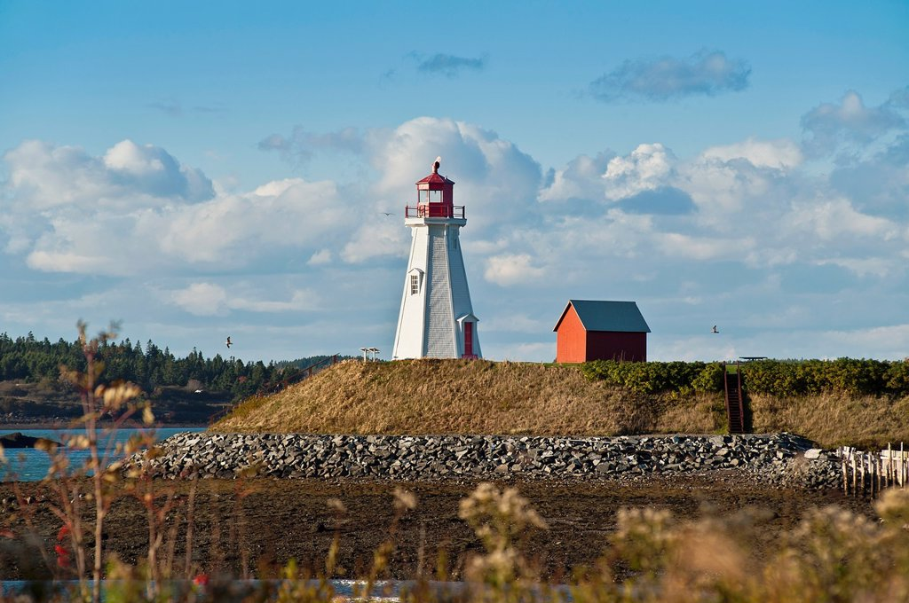 Stock Photo: 1566-890107 Mulholland Lighthouse, New Brunswick, Campobello, Canada