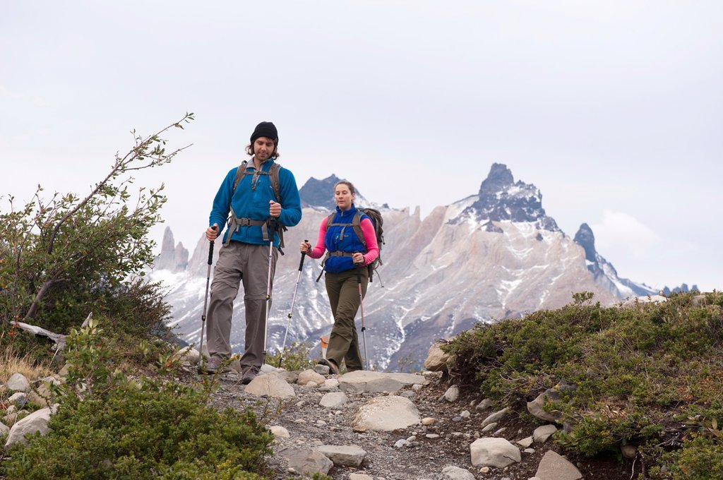 Stock Photo: 1566-890217 Hikers, Torres del Paine National Park, Patagonia, Chile