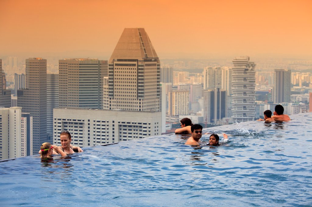 The Swimming Pool On The Top Of Marina Bay Sand Hotel Singapore Stock Photo 1566 890318