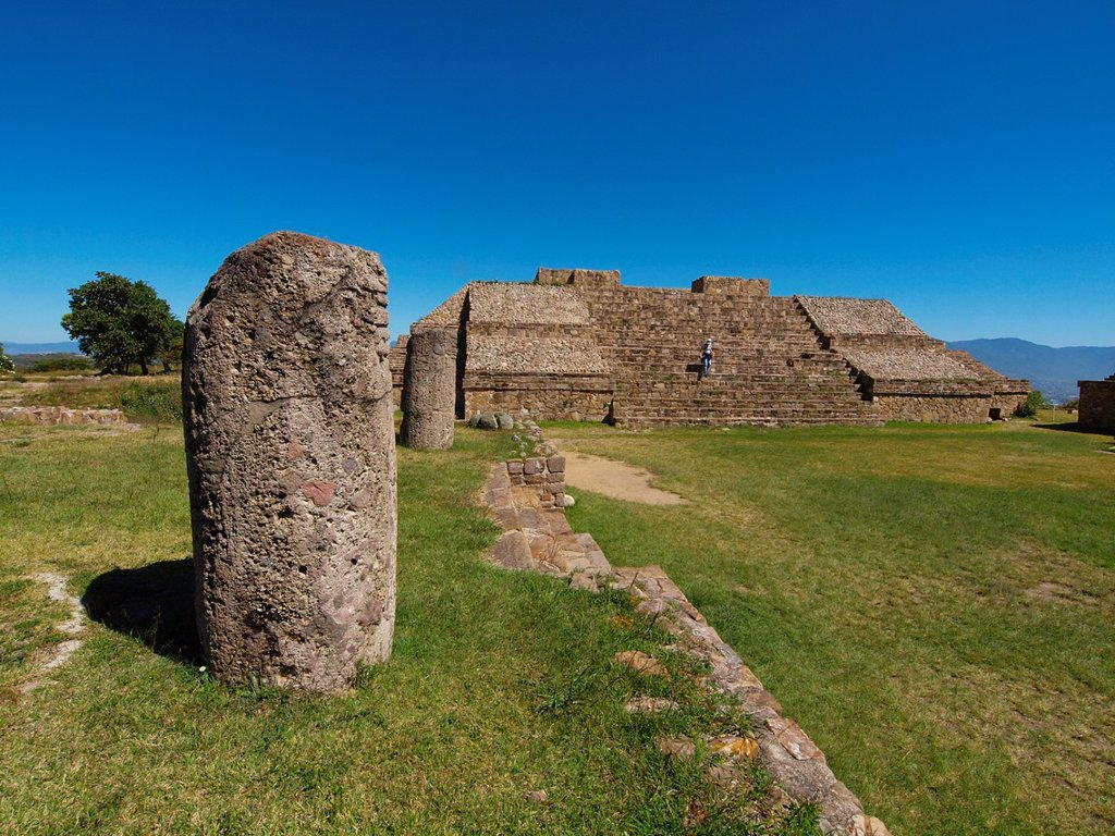 Stock Photo: 1566-890462 Geodesic pole. Monte Albán. Zapotec archeological site. Oaxaca. Mexico.