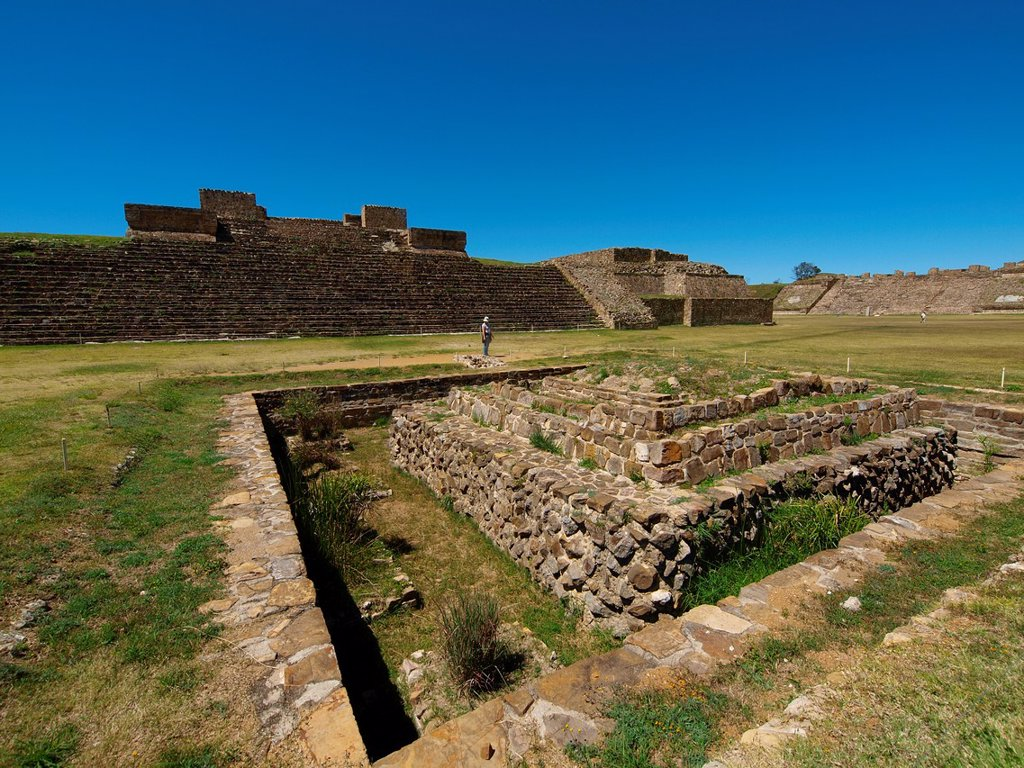 Stock Photo: 1566-890508 Ruins of Monte Albán. Zapotec archeological site. Oaxaca. Mexico.