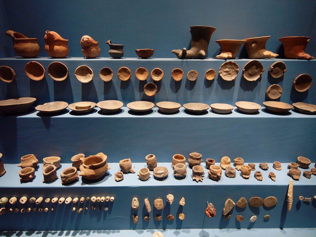 Ceramics. Museum Monte Albán. Zapotec archeological site. Oaxaca. Mexico. : Stock Photo