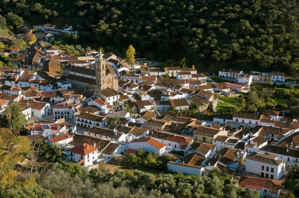 Stock Photo: 1566-890847 Panoramic view  Alájar  Huelva-province  Spain