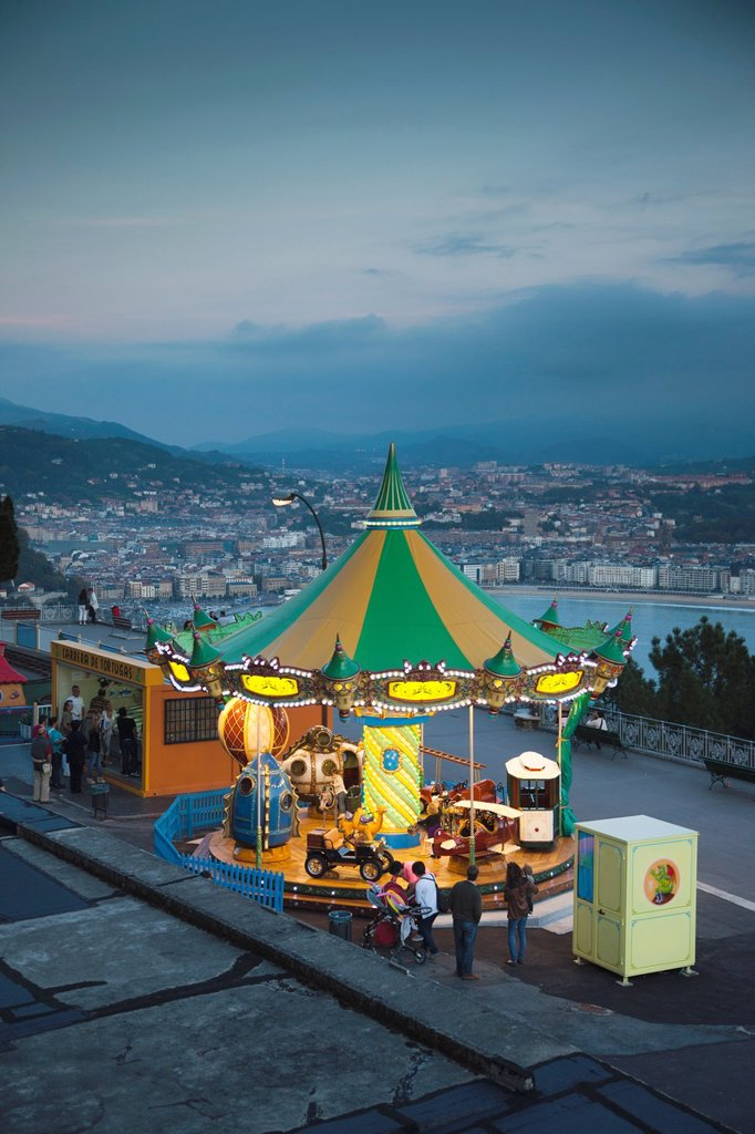 Spain, Basque Country Region, Guipuzcoa Province, San Sebastian, Monte Igueldo amusement park, dusk : Stock Photo