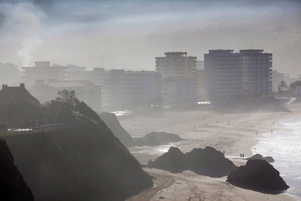 Stock Photo: 1566-891007 Spain, Basque Country Region, Vizcaya Province, Bakio, fog and mist shrouded beach town