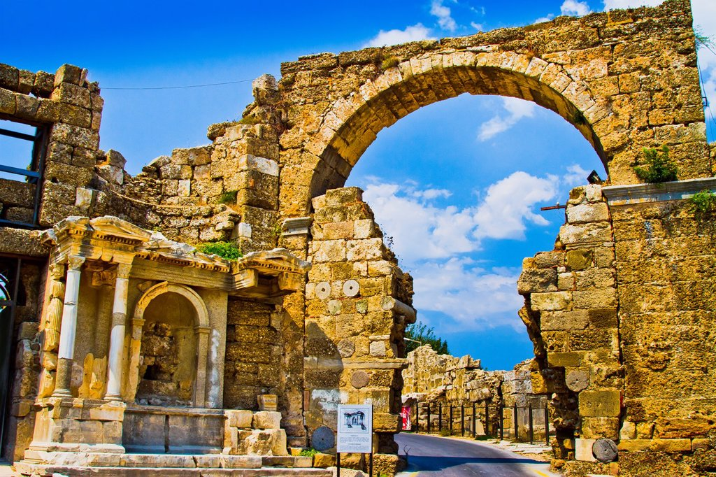 Stock Photo: 1566-891167 Side  Ancient city ruins  Province of Antalya  Mediterranean coast  Turkey