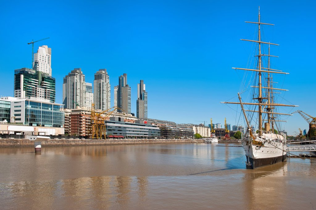 Stock Photo: 1566-891527 Frigate Sarmiento, Puerto Madero, Buenos Aires, Argentina