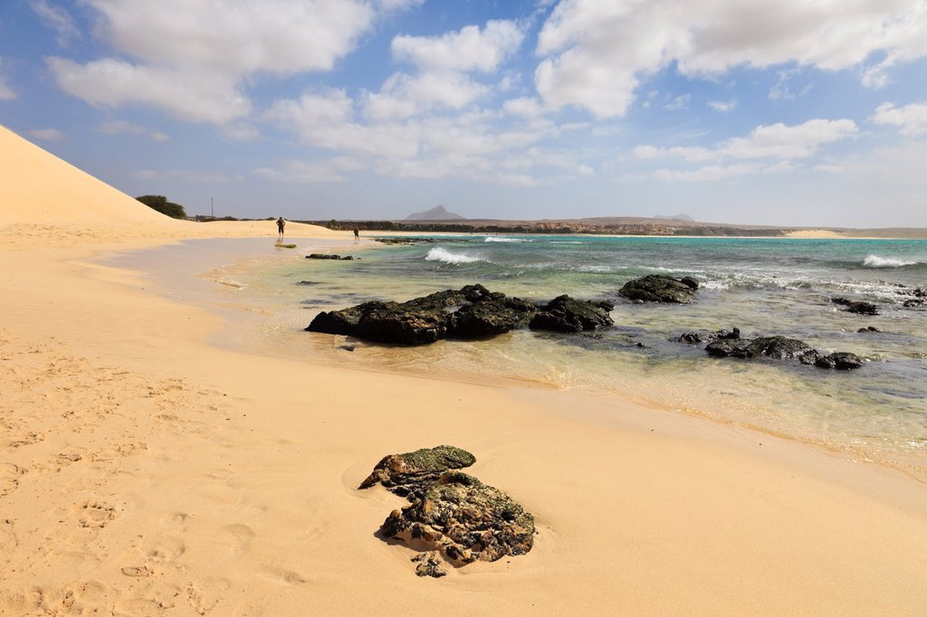 Stock Photo: 1566-891819 Praia de Chaves, Rabil, Boa Vista, Cape Verde Islands, Africa  View along seashore of quiet white sand beach