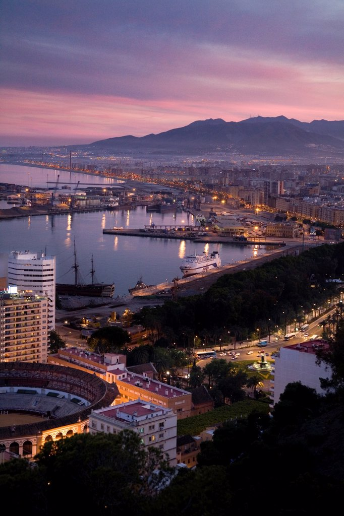 Views of Malaga, in the evening from Mount Gibralfaro Malagueta, with view of the harbor, the bay and part of the city  Malaga, Andalusia, Spain : Stock Photo